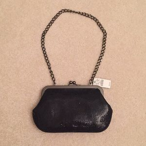 NWT Express black sequin clutch with chain
